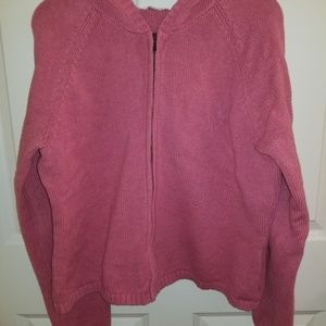 Zippered Rose Cardigan with Hood